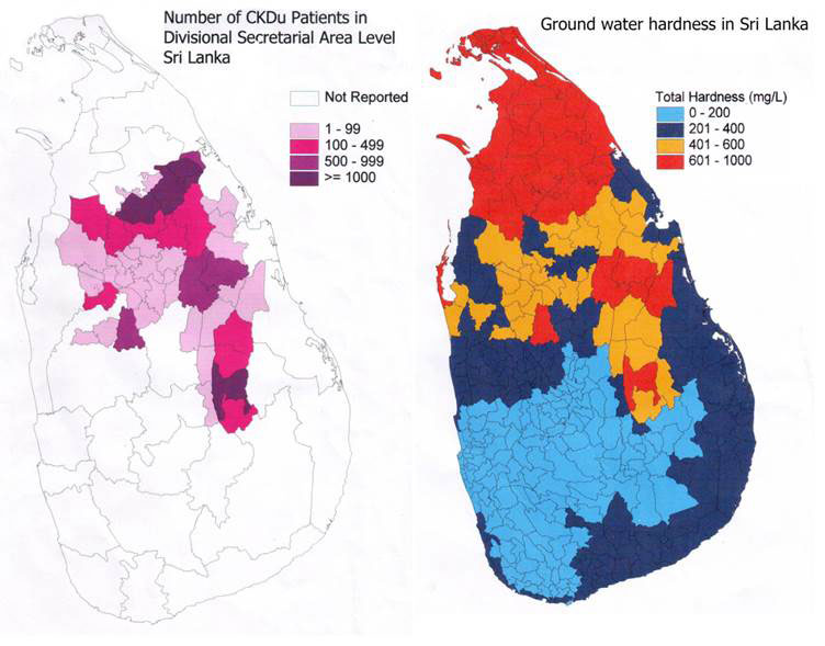 figure 1 map of sri lankan disease cases and hard water.bmp