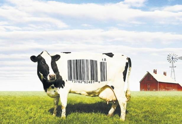 Food on film: The poster for filmmaker Robert Kenner's 'Food, Inc.' features a bar-coded cow